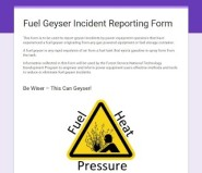 Fuel Geyser Reporting Form Capture