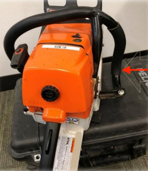 Damage to chainsaw